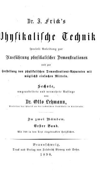 Dr  J  Frick s physikalische Technik PDF