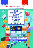 Oswaal ICSE Question Bank Class 10 Economics Book Chapterwise   Topicwise  Reduced Syllabus   For 2022 Exam  PDF