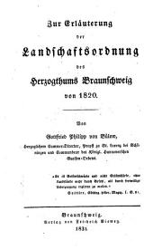 Zur Erläuterung der Landschaftsordnung des Herzogthums Braunschweig von 1820