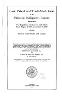 Basic Patent and Trade mark Laws of the Principal Belligerent Powers PDF