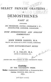 Select Private Orations of Demosthenes: Pro Phormione, Contra Stephanum I, II, Contra Nicostratum, Cononem, Calliclem
