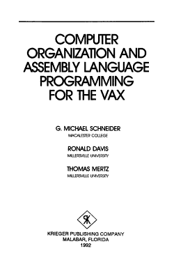 Computer Organization and Assembly Language Programming for the VAX PDF