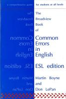 The Broadview Book of Common Errors in English   ESL Edition PDF