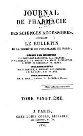 Journal de pharmacie et des sciences accessoires: Volume20