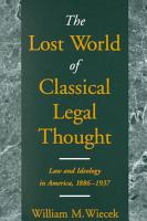 The Lost World of Classical Legal Thought PDF