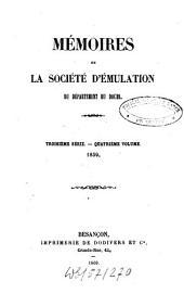 Mémoires de la Société d'Emulation du Département du Doubs: Volume 4