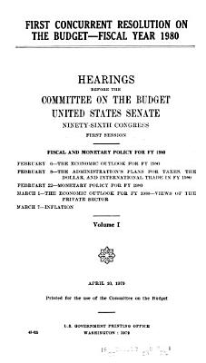 First concurrent resolution on the budget  fiscal year 1980 PDF