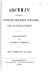 Archiv für das Studium der neueren Sprachen und Literaturen: Bände 46-48