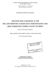 Ground-water Conditions in the Soil and Moisture Conservation Demonstration Area Near Torrington, Goshen County, Wyoming