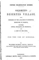 Goldsmith s Deserted village  with remarks on the analysis of sentences  exercises in parsing  notes     and a life of the poet     By Walter M Leod PDF