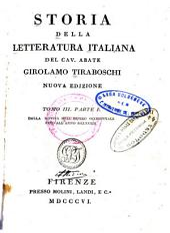 Storia della letteratura italiana: Dalla rovina dell'Impero occidentale fino all'anno MCLXXXIII
