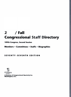 Congressional Staff Directory 2006 Fall