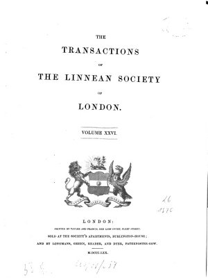 The transactions of the Linnean Society of London