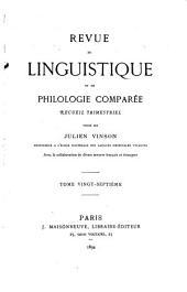 Revue de linguistique et de philologie comparée: Volume27