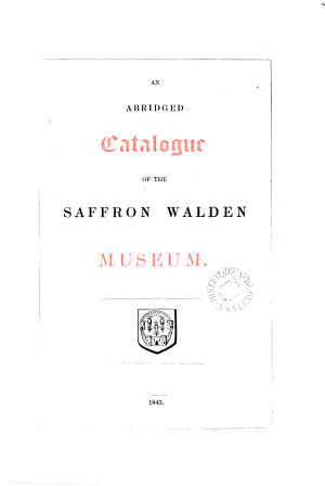 An abridged catalogue of the Saffron Walden museum PDF
