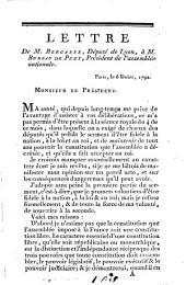 Lettre de M. Bergasse, député de Lyon, à M. Bureau de Puzy, président de l' assemblée nationale