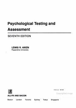 Psychological Testing and Assessment PDF