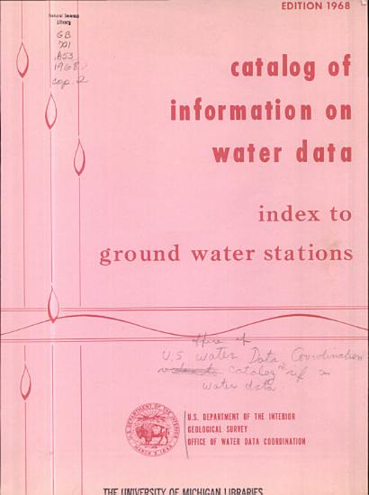 Catalog of Information on Water Data  Index to Ground Water Stations PDF