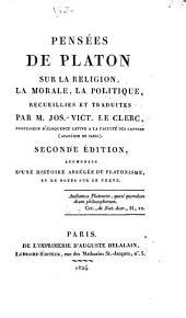 Pensées de Platon sur la religion, la morale, la politique, recueillies et traduites