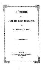 Mémoire sur la langue des gloses Malbergiques