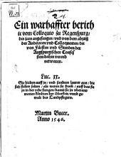 Ein warhaffter Bericht vom Colloquio zu Regensburg