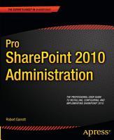 Pro SharePoint 2010 Administration PDF
