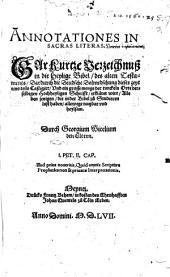 Annotationes in Sacras Literas des alten Testaments