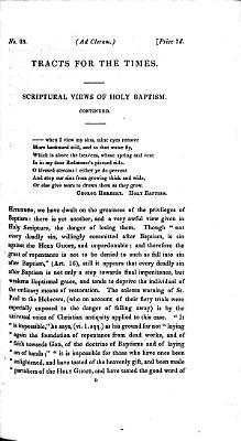 Scriptural views of Holy Baptism  with an appendix
