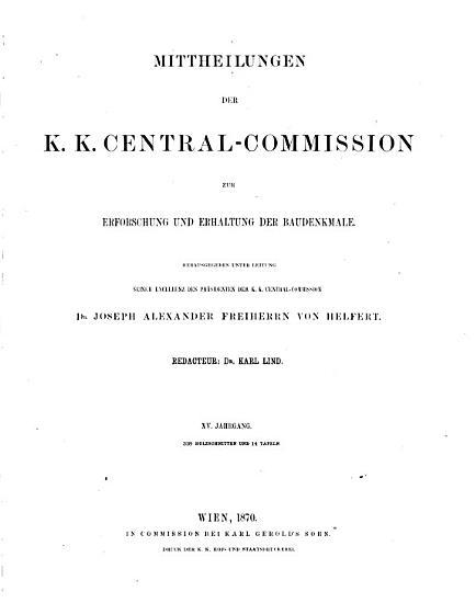 Mittheilungen der Kaiserl  k  nigl  central commission zur erforschung und erhaltung der baudenkmale     PDF