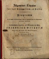 Allgemeiner Lehrplan f  r das Gymnasium zu Fulda PDF
