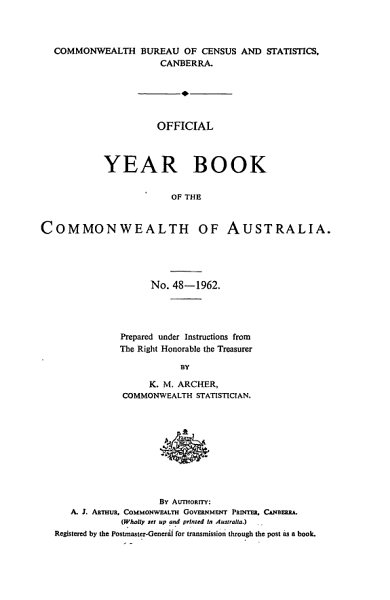 Download Official Year Book of the Commonwealth of Australia No  48   1962 Book