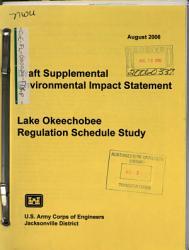 Lake Okeechobee Regulation Schedule Study  Jacksonville District PDF