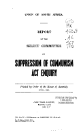Report of the Select Committee on Suppression of Communism Act Enquiry PDF