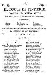 El Duque De Pentiebre. Comedia En Cinco Actos