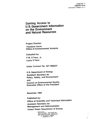 Gaining Access to U S  Government Information on the Environment and Natural Resources PDF