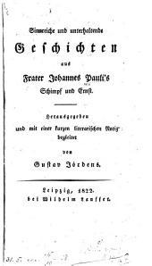 Sinnreiche und unterhaltende geschichten aus frater Johannes Pauli's Schimpf und ernst