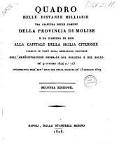 Quadro delle distanze milliarie tra ciascuna delle comuni della provincia di Molise e da ciascuna di esse alla capitale della Sicilia citeriore ..