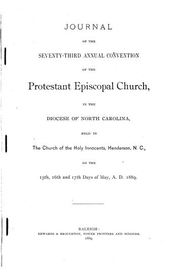 Journal of the Proceedings of the     Annual Convention of the Protestant Episcopal Church in the State of North Carolina PDF