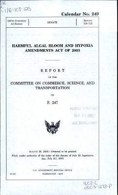 Harmful Algal Bloom and Hypoxia Amendments Act of 2003