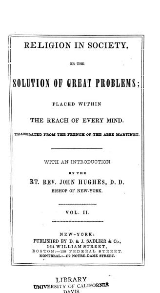 Download Religion in Society  Or  the Solution of Great Problems Book