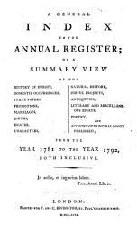 The Annual Register Or A View Of The History Politics And Literature For The Year  Book PDF