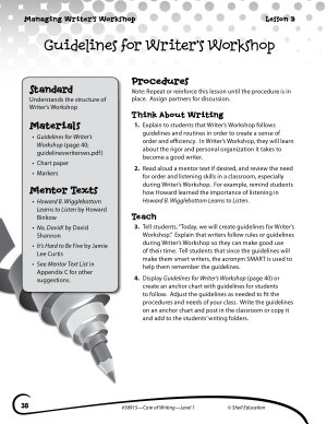 Writing Lesson Level 1  Guidelines for Writer s Workshop PDF