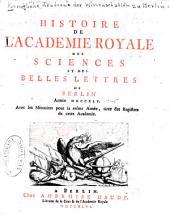Histoire de l'Academie Royale des Sciences et des Belles Lettres: Année 1745-1769