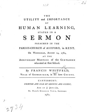 The Utility and Importance of Human Learning  Stated in a Sermon  on Prov  Xix  2   Etc