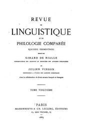 Revue de linguistique et de philologie comparée: Volume20