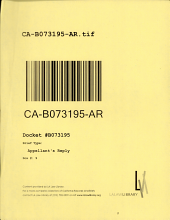 California. Court of Appeal (2nd Appellate District). Records and Briefs: B073195, Appellant's Reply