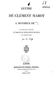 Lettre de Clément Marot à Monsieur de ***, touchant ce qui s'est passé, à l'arrivée de Jean-Baptiste de Lulli, aux Champs-Elysées