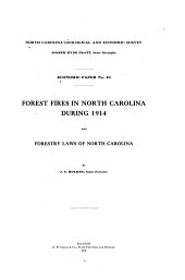 Forest Fires in North Carolina During 1914 and Forestry Laws of North Carolina
