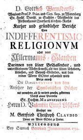 Kurzer Bericht vom Indifferentismo religionum