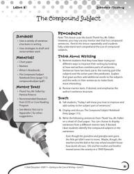 Writing Lesson Level 3 The Compound Subject Book PDF